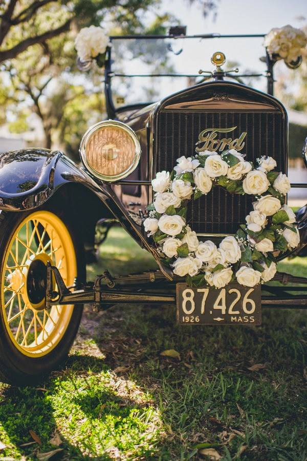 vintage wedding getaway cars