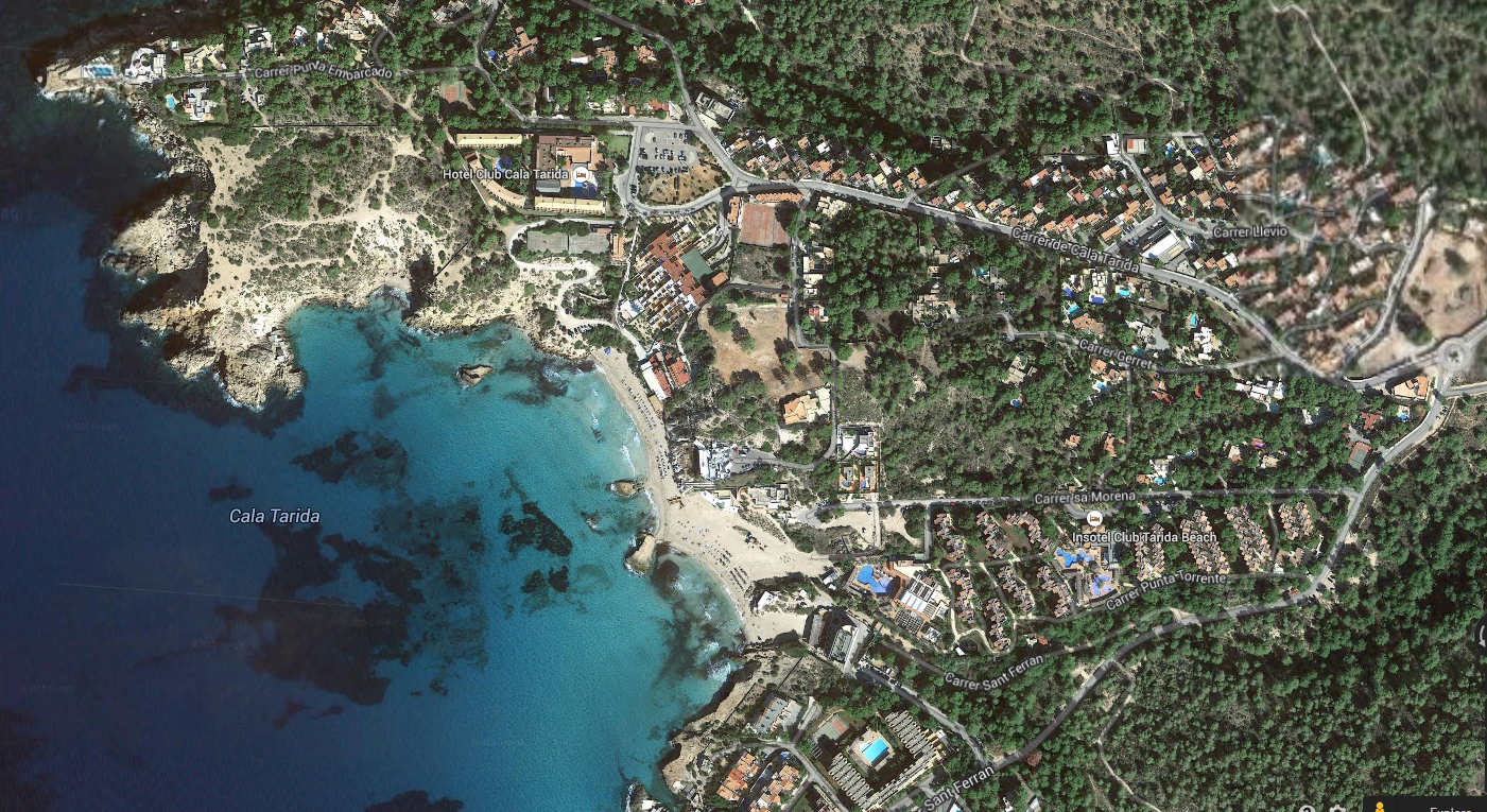 Cala Tarida. Image: Google Maps.