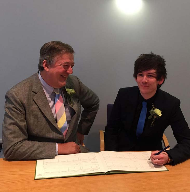 Stephen Fry has married partner Elliot Spencer. Image: Stephen Fry via Twitter.
