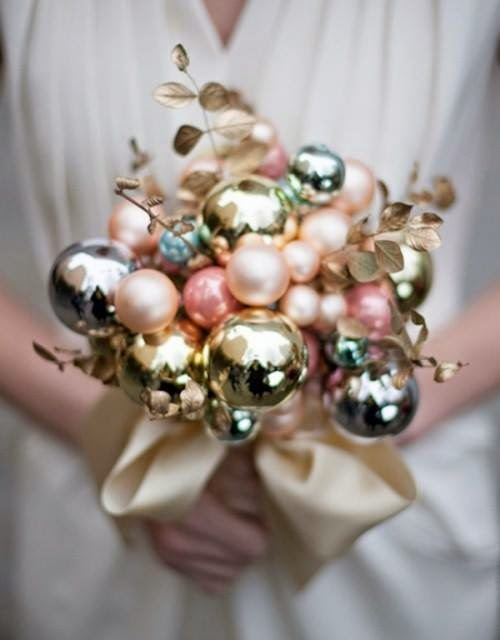 Christmas wedding bouquet made of baubles