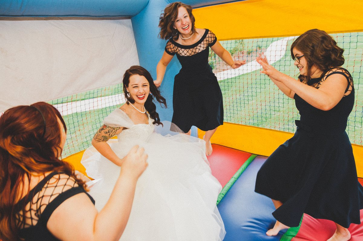 bouncy castle at wedding