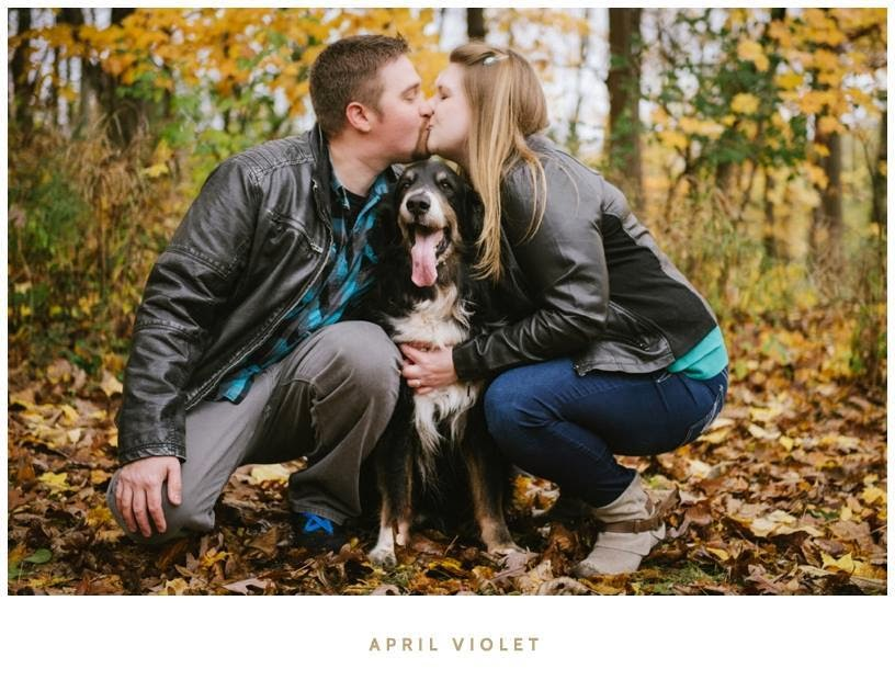 engagement photo with the pooch