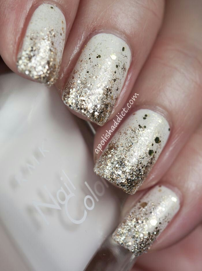 nails art - gold flecks on white nails