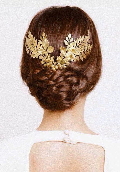 golden headpiece for a wedding updo