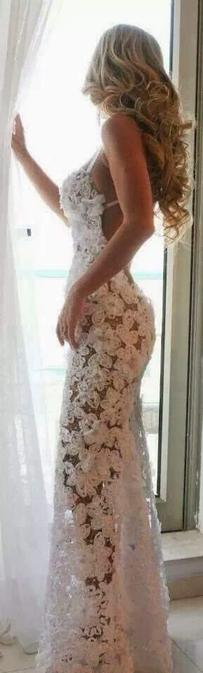 flowers and lace beach wedding gown