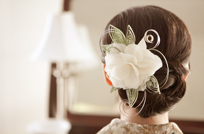 origami wedding hair accessory