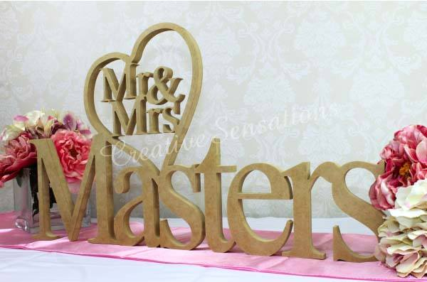 tailor-made wooden sign bridal table