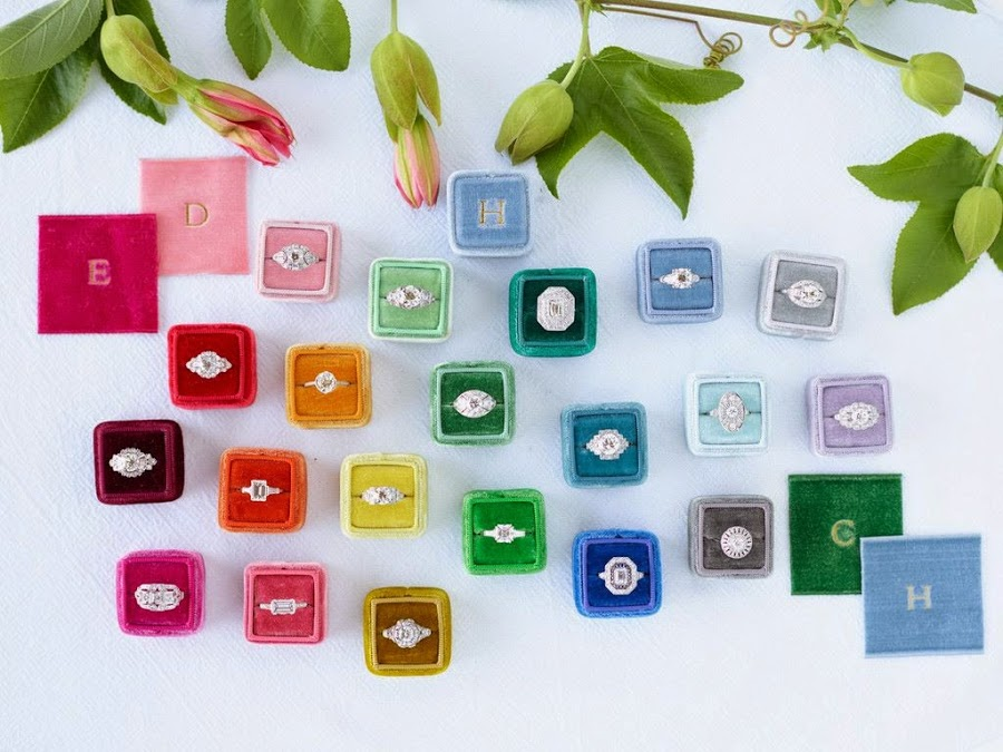 colourful vibrant ring boxes