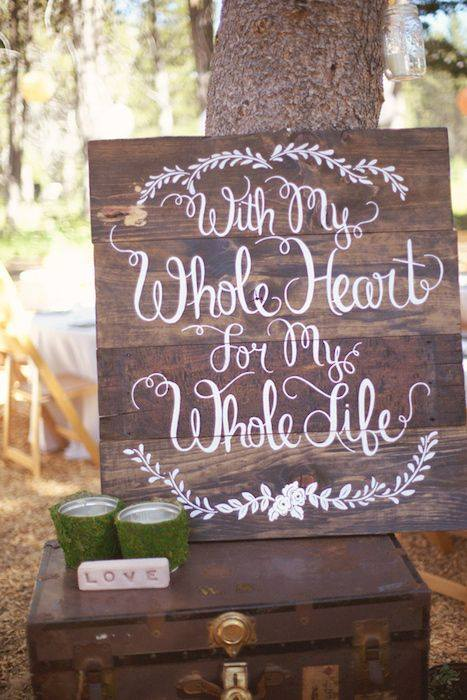 Wedding sign - With a Whole Heart