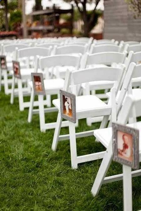 Wedding aisle decoration with family photos