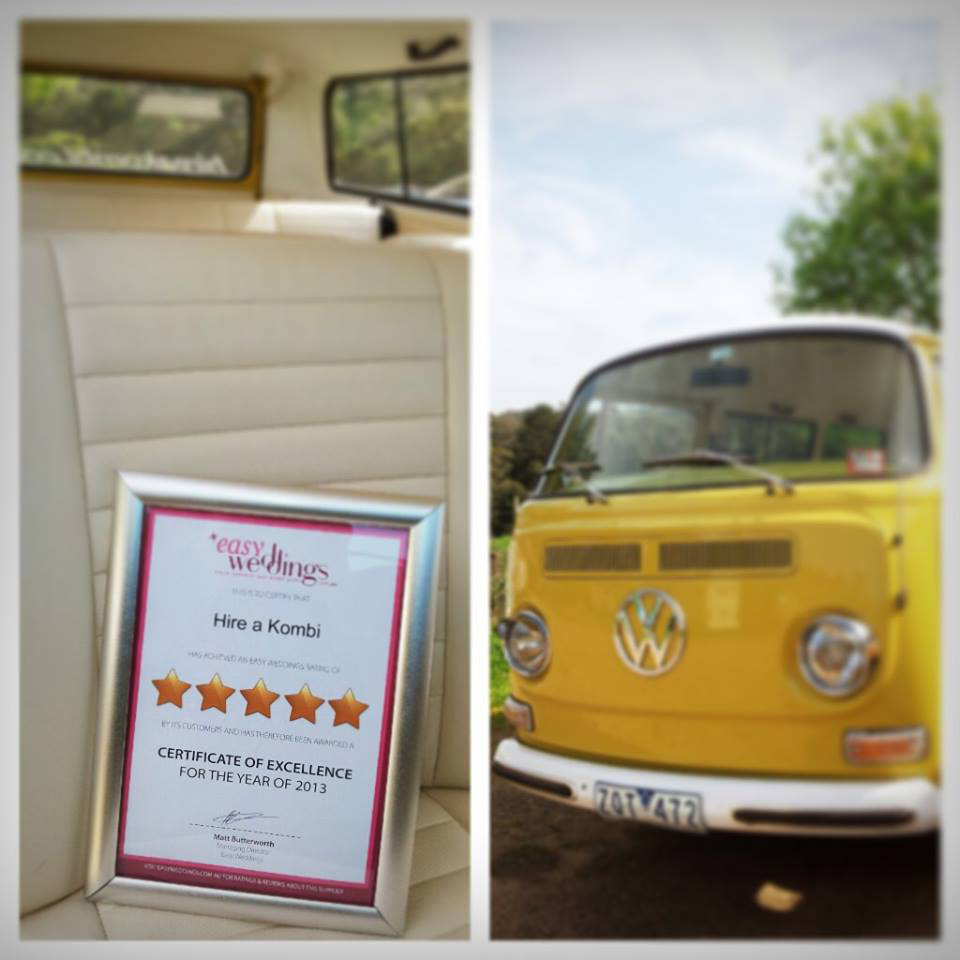 Hire a Kombi were just one of hundreds of Easy Weddings suppliers to receive a five-star review certificate of excellence.