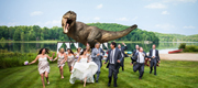 Jeff Goldblum indulges newlyweds – and channels Jurassic Park