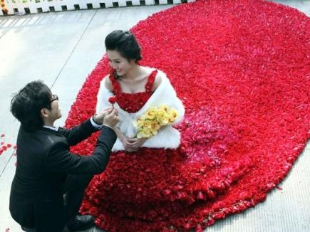 rose wedding gown