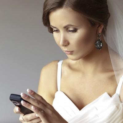 Bride on phone